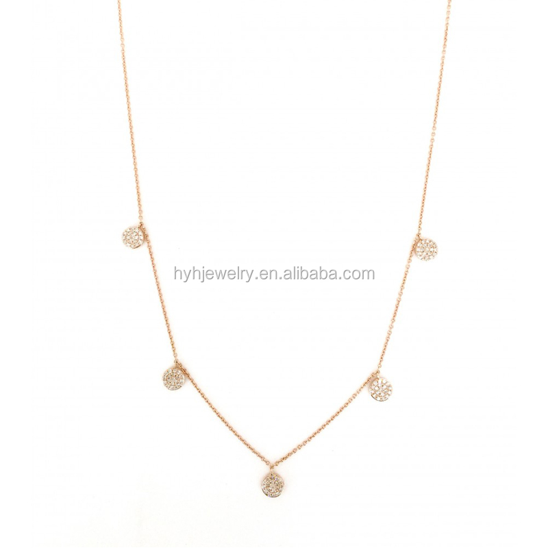 Wholesale high quality fashion jewelry zircon circle chain choker for girls party time