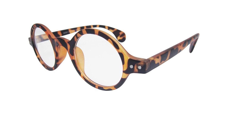 Small Round Vintage Retro Round Amber Leopard Tortoise Shell Eyeglass Frame 3020