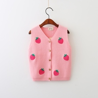 Children Clothes Strawberry Sweaters Autumn Baby Knitted Kids Sleeveless Open Stitch Princess Girls V-Neck Clothing
