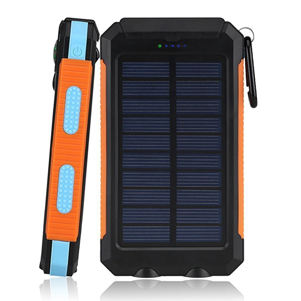 FUSHITON Solar Charger, Solar Power Bank 20000mAh with LED Portable Rugged Shockproof Dual USB Power Charger Backup External Battery Power Pack Constructed with a Solar Panel for iPhone, iPod, Samsung
