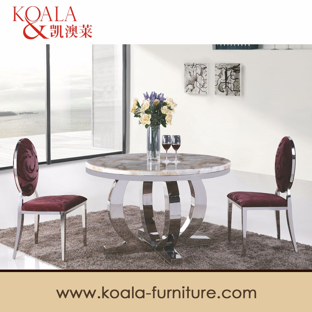 Modern marble top stainless steel legs round dining table designs