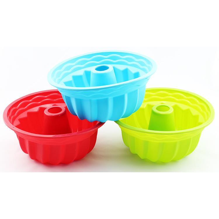 Zucca forma personalizzata pop bakeware vassoio rotondo del silicone scanalata bundt muffa della torta della muffa della torta del silicone pan