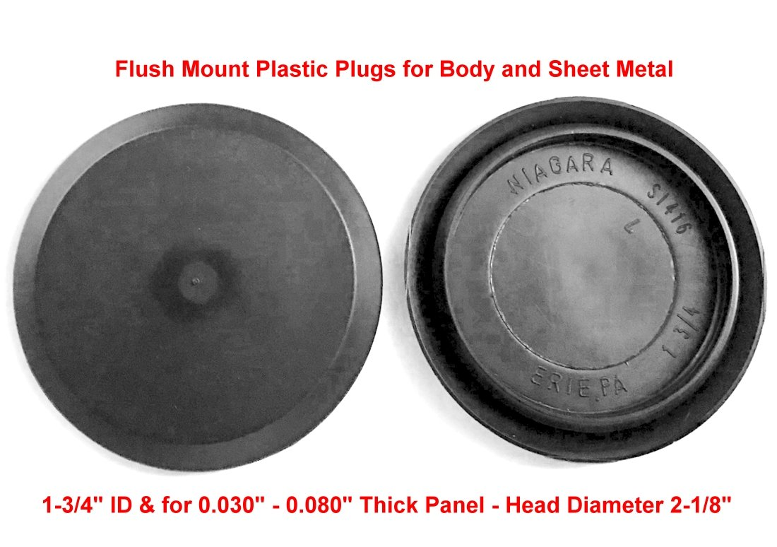 "(Pack of 10) 1-3/4"" -1.75 inch CAPLUGS Flush Mount Black Plastic Body and Sheet Metal Hole Plugs - Head Diameter 2 1/8"" - for Panel Thickness 0.03""-0.08"". Overall Height 1/4"""