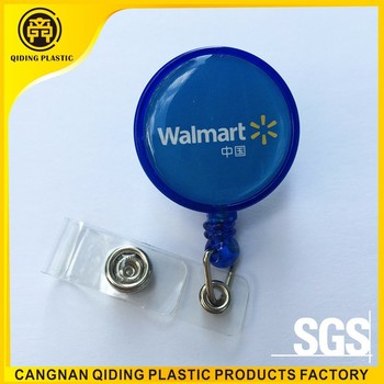 Retractable badge holder with epoxy sticker logo for Wal-mart