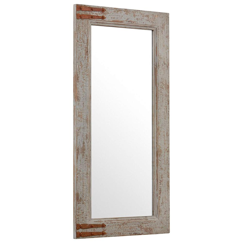 "36.25""H Grey Vintage-Look Rectangular Frame Mirror mirrors decor wall home"