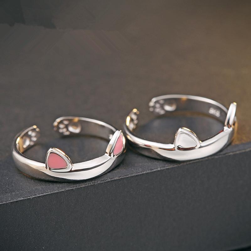 f1fc0d4eb515 De plata 925 de plata esterlina pequeño coreano creativo lindo orejas de gato  anillo para las