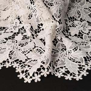 Custom Embroidery Guipure Water Soluble Dress Making Encaje Lace Fabric