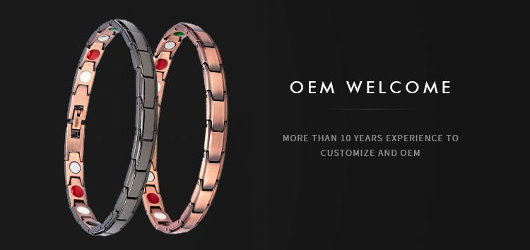 Accept Customers Logo Minimalist Titanium Stainless Steel Copper  Bio Magnetic Health Bracelet for Men