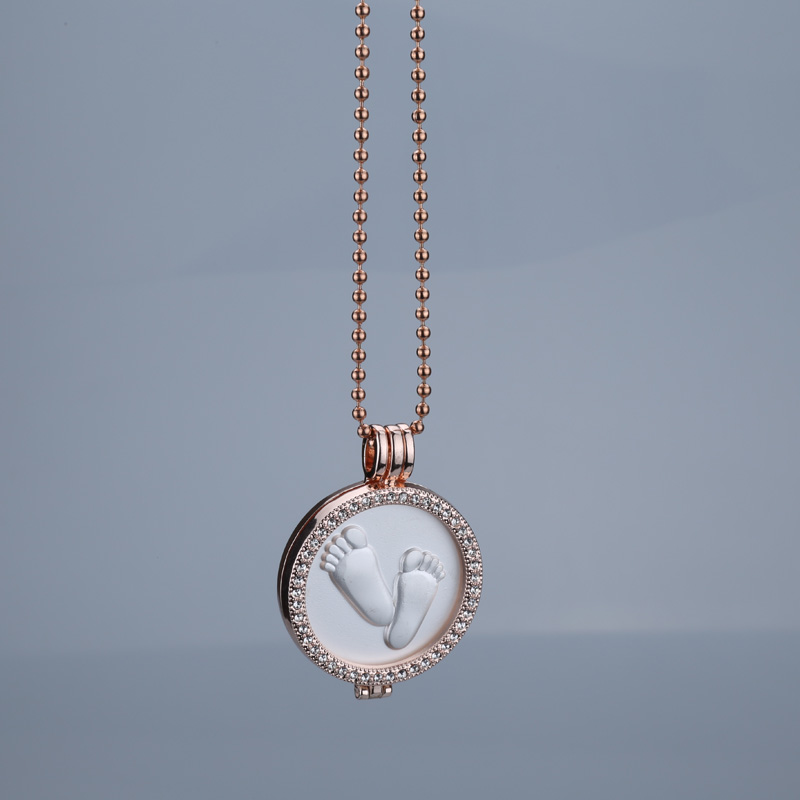 Interchangeable Disc Necklace: Rose Gold Feet Interchangeable Necklace 35mm Coin Holder