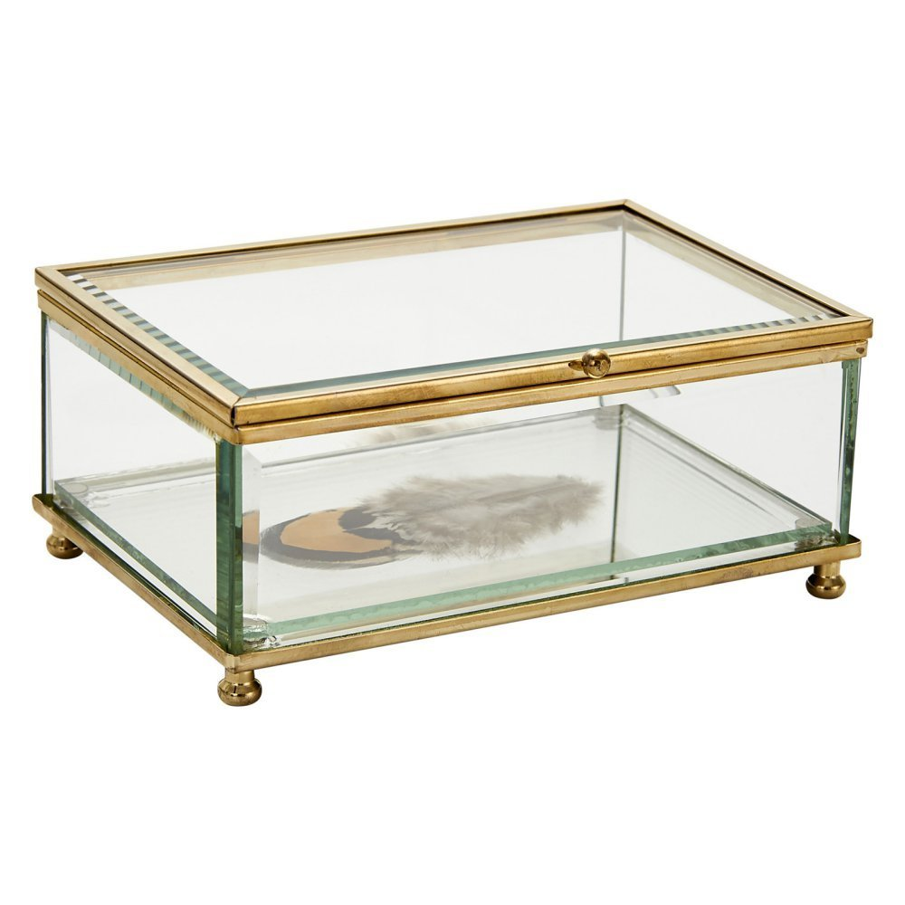 "Sagebrook Home 12086-02 Decorative Glass Boxwith Feathers, 6"" x 4"" x 2.25"" Decorative Glass Box with Feathers,,6"" X 4"" X 2.25"""