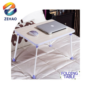 Wooden small portable folding table laptop desk on bed