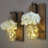 Rustic Hanging Mason Sconces with Mason Jar Lights Wrought Iron Hooks Rustic Home Decor