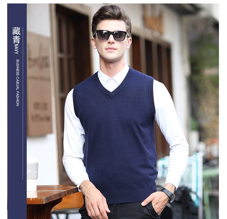 9bdfd4a3244d1 2019 Latest Design V Neck Solid Color Mens Sleeveless Knit Cashmere ...