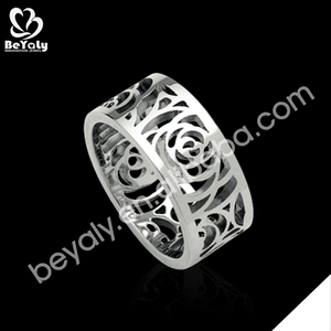 925 silver hollow white gold ring settings without stones