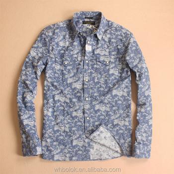 6afbf6ea150 Denim Estampado De Moda Camisas De Flores Para Hombres