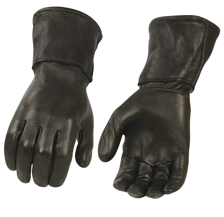 46e111658e8fc Get Quotations · Men's Black Deerskin Leather Thermal & Unlined Gauntlet  Gloves