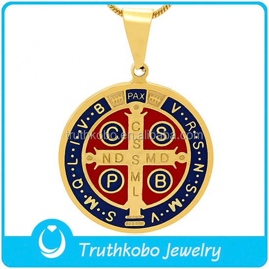 Religious Red and Blue Enamel San Benito Crucifix 316L Surgical Stainless Steel St Benedict Medal Jesus Piece Cross Pendant