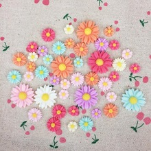 Mixed Color 10MM 100 PCS One Bag 21MM 30 Pcs One Bag Flatback Flat Back Resin Flower Cabochon Kawaii DIY Resin Craft Decoration