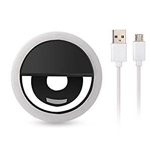 Selfie Ring Light, Ryham Recharegable 3 Mode Brightness Fill Lighting Dimmable Cold for iPhone 6s Plus/6s, iPad, Samsung Galaxy S6 Edge/S6, Galaxy Note 5, Blackberry,Motorola All the Smart Phone,Black