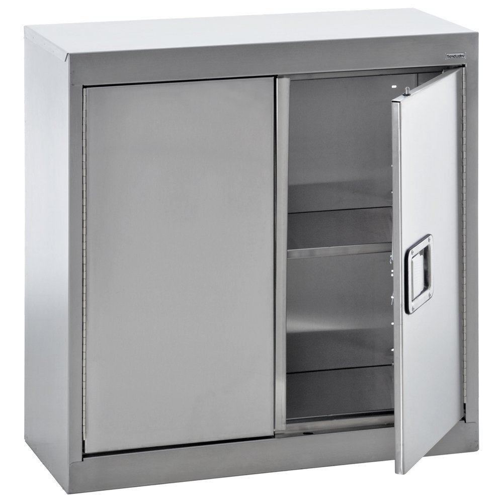 "Sandusky Lee SA1D301230-XX 304 Stainless Steel Wall Storage Cabinet, 1 Adjustable Shelf, 30"" Height x 30"" Width x 12 inch Depth"