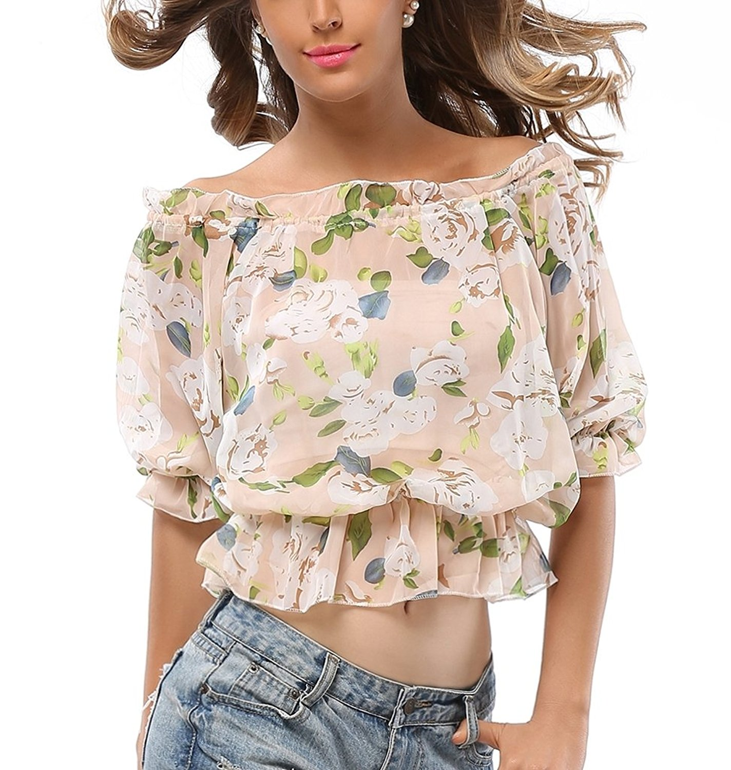 1031221224 Get Quotations · Fortuning s JDS Floral Ruffled Off-shoulder Crops Tops  with Sheer Chiffon Elastic Neckline   Cuffs