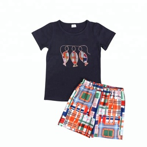 Hot Sale Kids Clothing Wholesale Summer Cotton Two Piece Set Fishing Printed Boys Clothing
