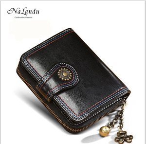 Vintage short style soft genuine leather zipper purse coin sorter wallet