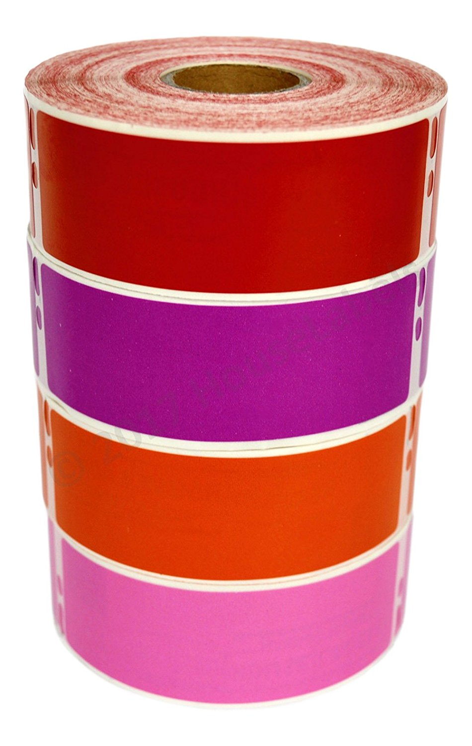 """4 Rolls; 1 Roll Of Each Color, 350 Labels Per Roll of DYMO-Compatible 30252 RED, PURPLE, ORANGE, PINK Address Labels (1-1/8"""" x 3-1/2"""") -- BPA Free!"""