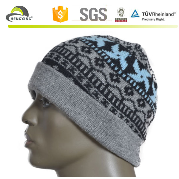 Mens retro wool beanie Knit soft winter cap women print turnup beanie