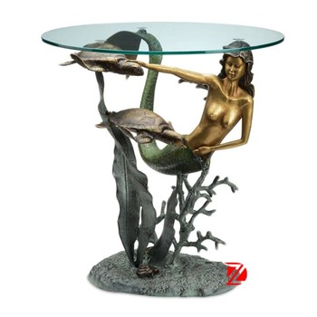 Bronze Mermaid Table Base Art Home Decor