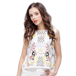 2018 new white tops vest ladies sleeveless sequins blouse fashion top women for sale