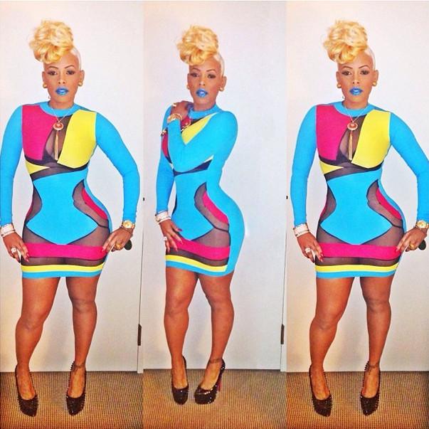 Color brush midi dress