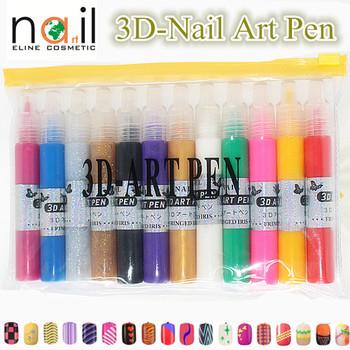 New 1set 12pcs 3d drawing color nail art fine tip pen design diy new 1set 12pcs 3d drawing color nail art fine tip pen design diy paint prinsesfo Images