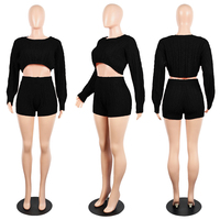 Fashion New Design Sexy Knitted Shorts Long Sleeve Pullover Woman Crew Neck Sweater Crop Top