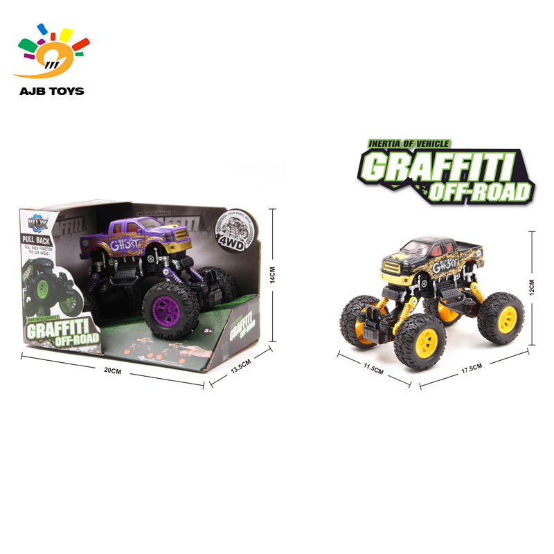 Scrawl printing pull back truck toy car with suspension function