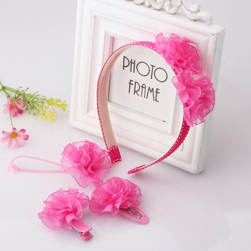 4 Pcs Set New Cute Baby Kids Headwear Hairpins/Hair Bands/Elastic Rubber Bands Flower Headbands Hair Clips Girls Barrette Sets