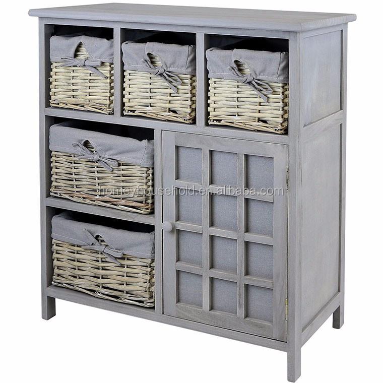Grey Cottage Woven Storage Bins: Shabby Chic Cheap Wicker Basket Storage Unit Shabby