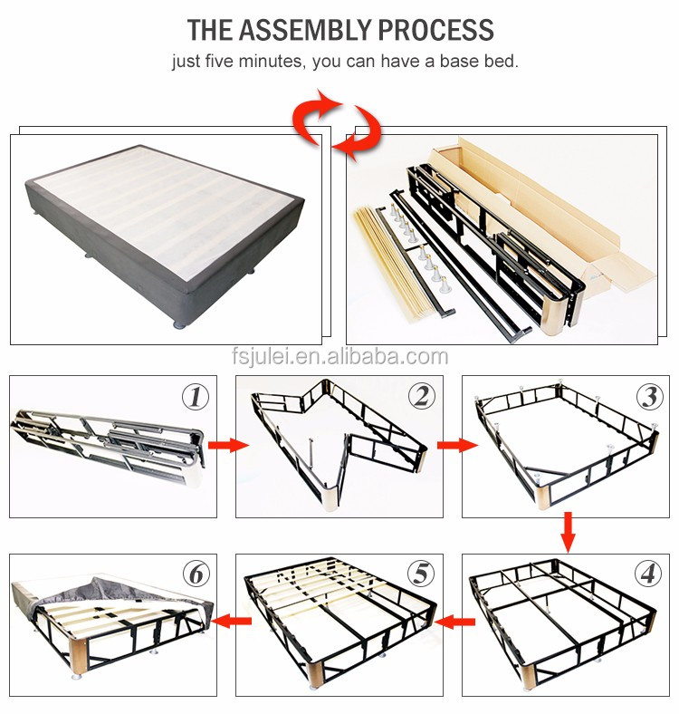 big loading quantity one pack knock-down folding metal slat bed frame with fabric cover DJ-PQ16