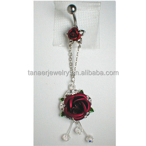 New design wholesale belly dangle piercing rose belly ring