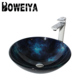 Tempered Glass Colored One Piece Bathroom Sink And Countertop