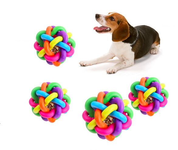 Hot Sale Rubber Colorful Ball With Brass Bell Inside Dog Toys Rubber Braided Ball Pet Toys