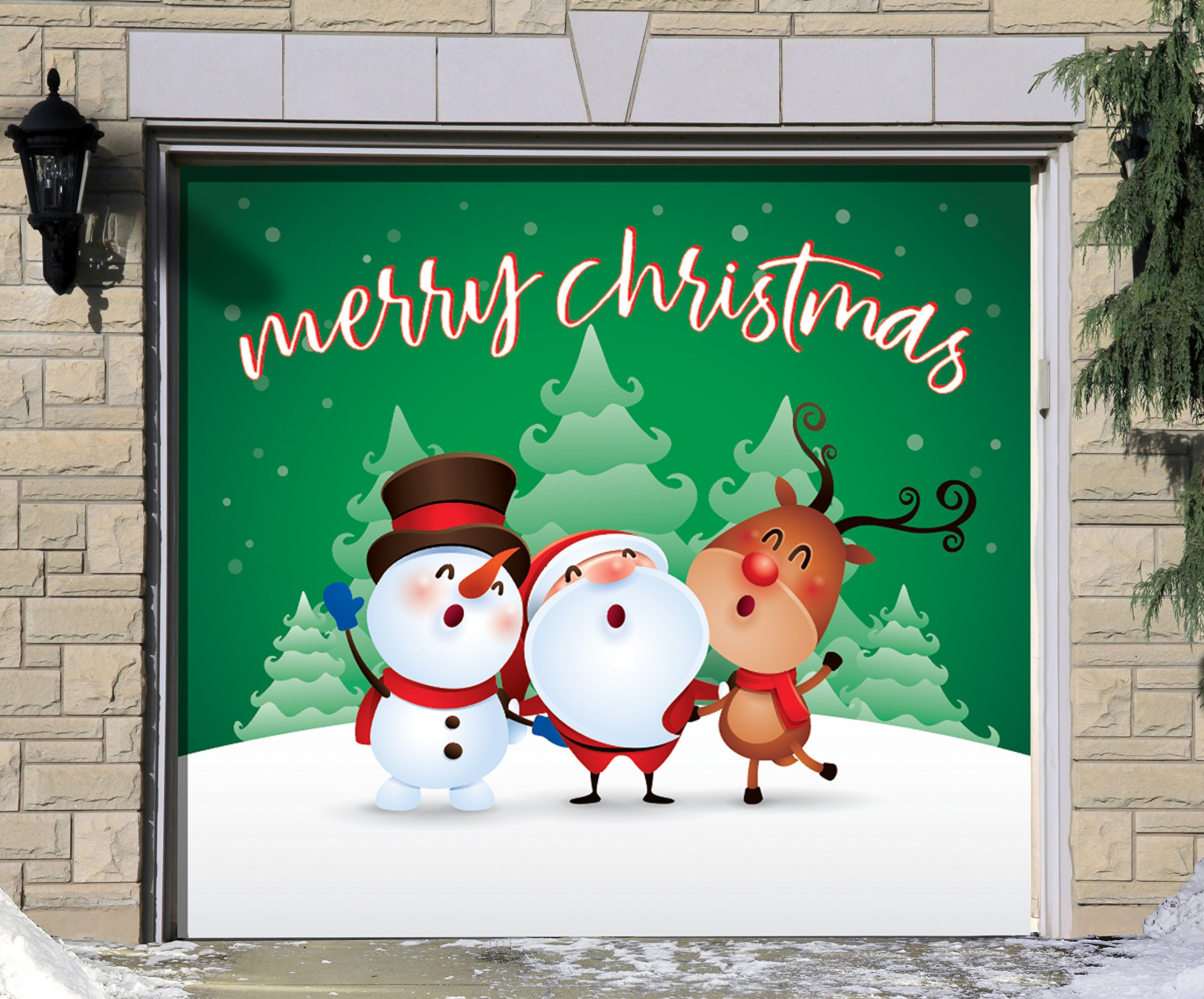 Victory Corps Outdoor Christmas Holiday Garage Door Banner Cover Mural Décoration - Christmas Characters Merry Christmas Winter - Outdoor Christmas Holiday Garage Door Banner Décor Sign 7'x8'
