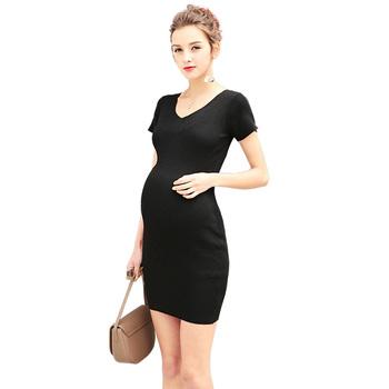 93077445d Joven mamá babyfeeding vestidos de negro vestido de enfermería para las mujeres  embarazadas