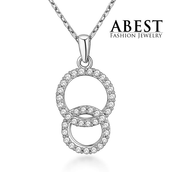 Elegant Beautiful White Zircon Hot Sale Circle 925 Sterling Silver Pendant Light Weight Fashion Design Jewelry Wholesale