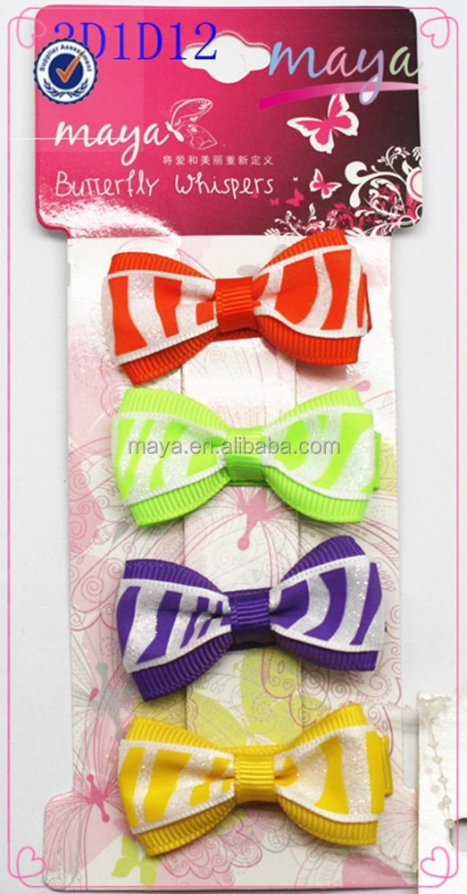 Zebra-Stripe Series colorful glitter hair bows set(approved by BV)