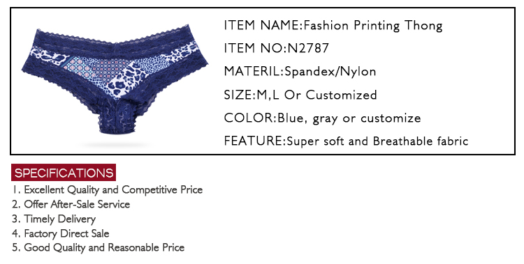 High quanlity lace cotton thongs for women plus size panties for girl underwear