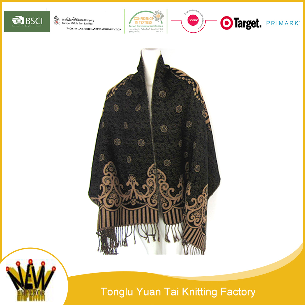 Wholesale the newest fashion cashmere wool poncho shawl scarf