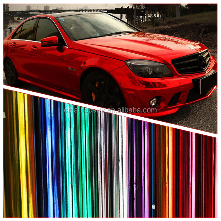 Red Color Mirror Chrome Car Wrap