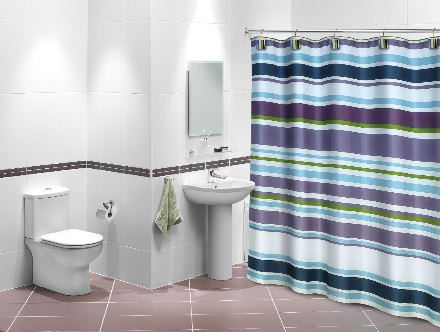 Florida Brands Poly Shower Curtain with Samantha Design