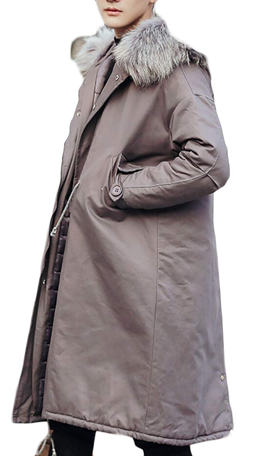 yibiyuan Mens Jacket Casual Slim Quilted Puffer Winter Hooded Parka Coat